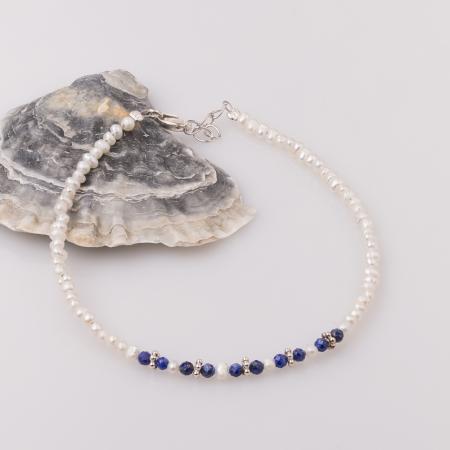 Bratara subtire din perle cu lapis lazuli0