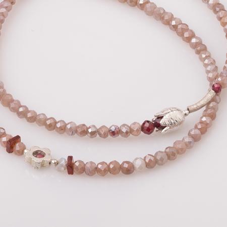 Bratara subtire din turmalina roz cu lalea din argint [2]