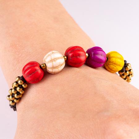 Bratara usor ajustabila cu snur impletit si pietre multicolore cu striatii [1]