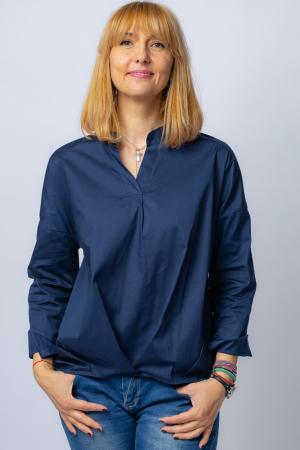 Camasa bleumarin asimetrica, oversize, din bumbac [0]