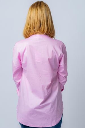 Camasa roz asimetrica, oversize, din bumbac [2]