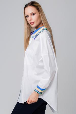 Camasa alba cu guler si mansete predominant albastru si nasturei colorati [0]