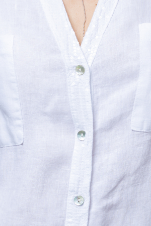 Camasa alba din in cu paiete si dantela pe spate [1]