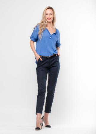 Camasa albastra din vascoza satinata si lejera [0]