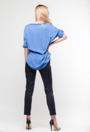 Camasa albastra din vascoza satinata si lejera [2]