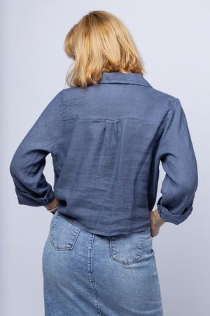 Camasa albastru jeans din in cu nod in fata [2]