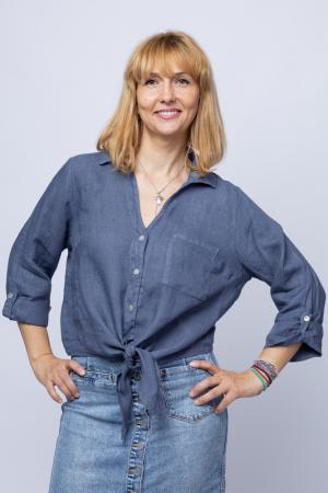 Camasa albastru jeans din in cu nod in fata [0]