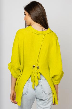 Camasa din in cu siret pe spate Stella Milani, galben lime [2]