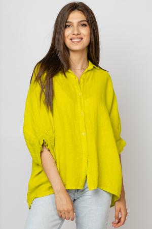 Camasa din in cu siret pe spate Stella Milani, galben lime [0]