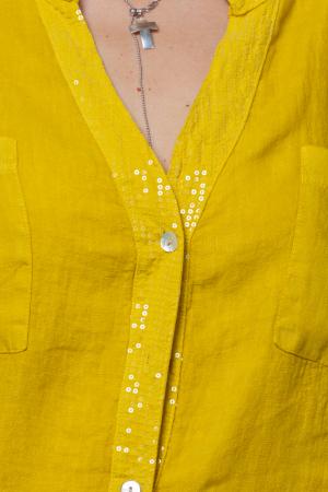 Camasa galbena din in cu paiete si dantela pe spate [1]