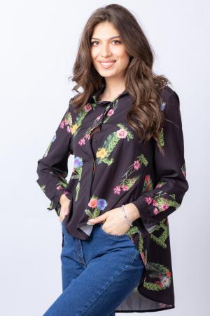 Camasa neagra asimetrica cu imprimeu floral [1]