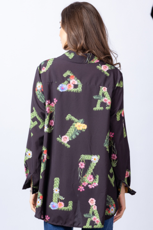 Camasa neagra asimetrica cu imprimeu floral [2]