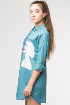 Camasa turqoise lunga cu imprimeu girlish [1]