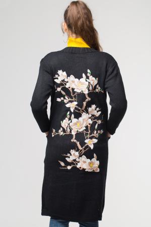 Cardigan negru lung cu buzunare si broderie florala pe spate [1]
