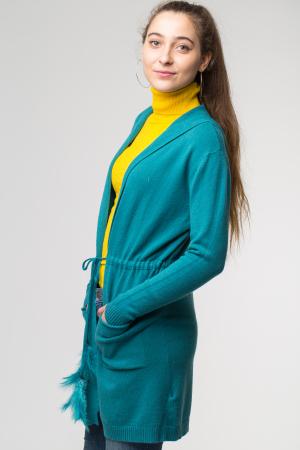 Cardigan turcoaz midi tricotat, cu gluga si buzunare [1]