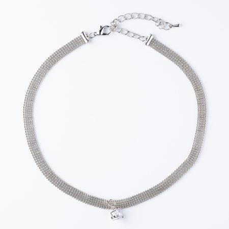 Colier argintiu la baza gatului cu pandantiv din zirconiu (choker) [0]