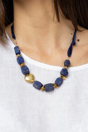 Colier din pietre rectangulare de lapis lazuli cu placute de cupru placat cu aur inserate [0]