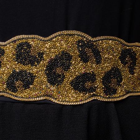 Curea lata leopard margelute aurii si negre1