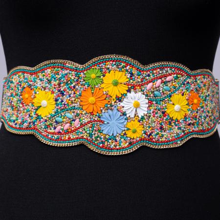 Curea lata margelute si flori multicolore [0]