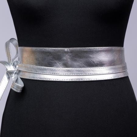 Curea lata petrecuta argintie din piele ecologica [0]