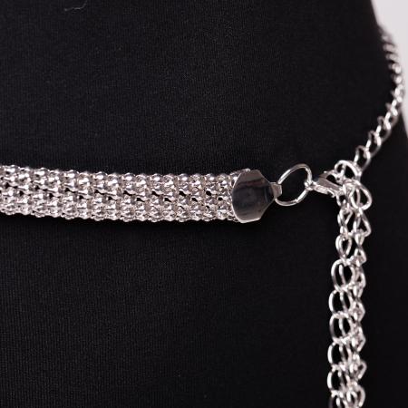 Curea metalica lantisoare impletite argintie1