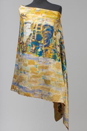 """Esarfa cu doua fete, din matase, imprimata cu reproducere dupa """" Pomul Vietii '' - Gustav Klimt [1]"""