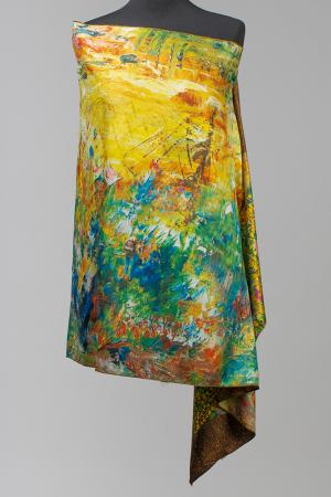 """Esarfa cu doua fete, din matase, imprimata cu reproducere dupa """"Sarutul """" de Gustav Klimt [1]"""