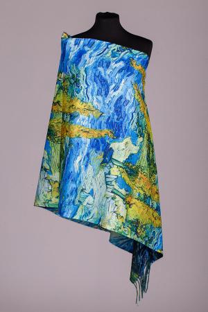 "Esarfa doua fete, imprimata cu o reproducere dupa pictura celebra a lui Van Gogh ""Noapte Instelata"", material tip cashmere [1]"