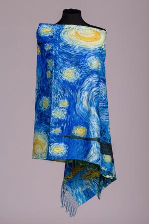 "Esarfa doua fete, imprimata cu o reproducere dupa pictura celebra a lui Van Gogh ""Noapte Instelata"", material tip cashmere [0]"