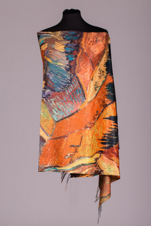 Esarfa cu doua fete imprimata cu reproduceri dupa picturi cu lanuri de Van Gogh, material tip cashmere [0]