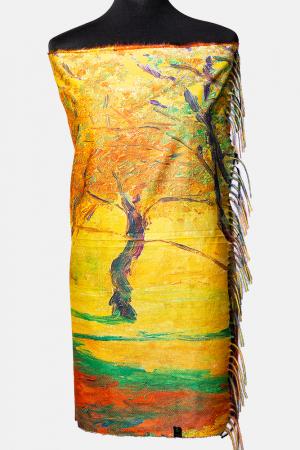 Esarfa cu doua fete imprimata cu reproduceri dupa picturi cu lanuri de Van Gogh, material tip cashmere [1]