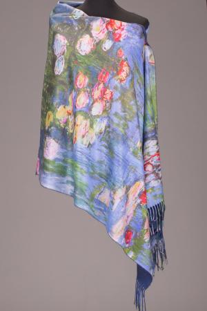 """Esarfa cashmere cu imprimeu reproducere dupa """" Nuferii"""" de Claude Monet [0]"""