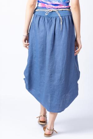 Fusta lunga albastru jeans cu poale prinse, din in, cu o curea fancy [5]