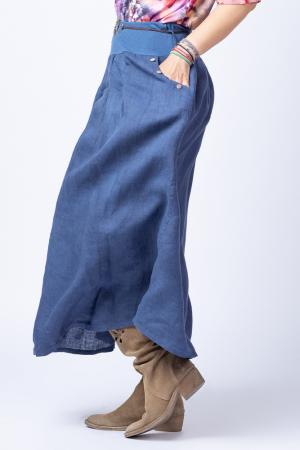 Fusta lunga casual, bleumarin, din in, cu o curea fancy [2]