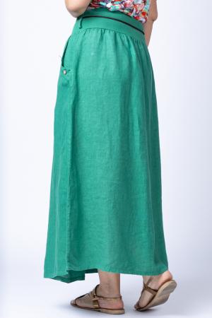 Fusta lunga casual, verde, din in, cu o curea fancy [1]