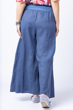 Fusta pantalon bleumarin casual, din in, cu o curea fancy [2]