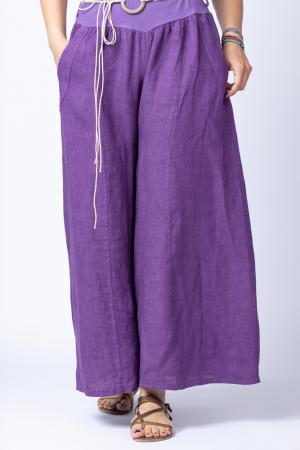 Fusta pantalon mov casual, din in, cu o curea fancy [1]