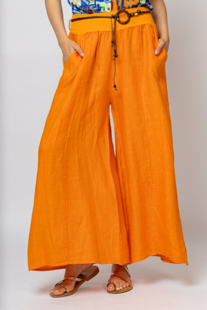 Fusta pantalon portocalie  casual, din in, cu o curea fancy [0]