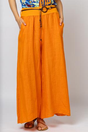 Fusta pantalon portocalie  casual, din in, cu o curea fancy [1]