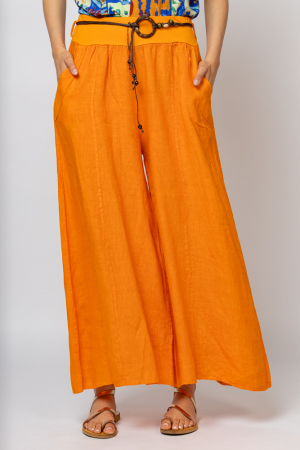 Fusta pantalon portocalie  casual, din in, cu o curea fancy [2]