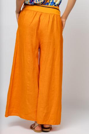 Fusta pantalon portocalie  casual, din in, cu o curea fancy [3]