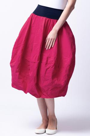 Fusta rosu inchis midi, tip lalea, din tafta [5]