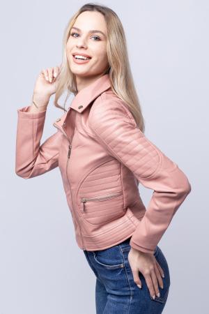 Geaca biker roz din piele ecologica [1]