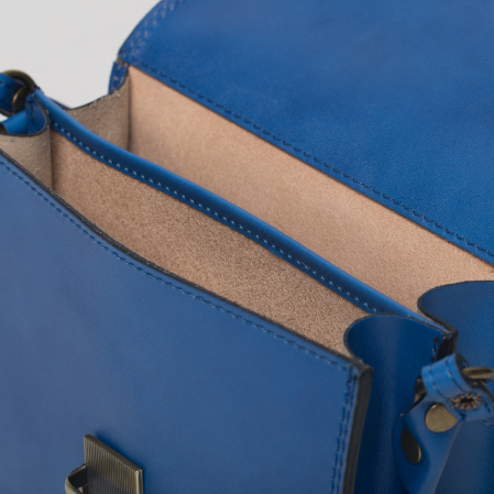Geanta crossbody albastra din piele naturala, tip postas [2]