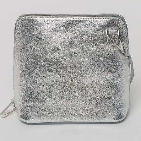 Geanta crossbody, argintie, din piele naturala0