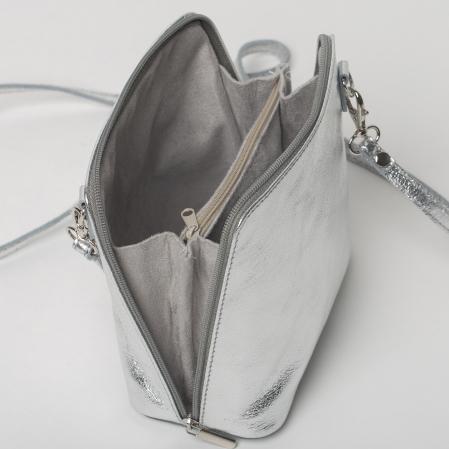 Geanta crossbody, argintie, din piele naturala2