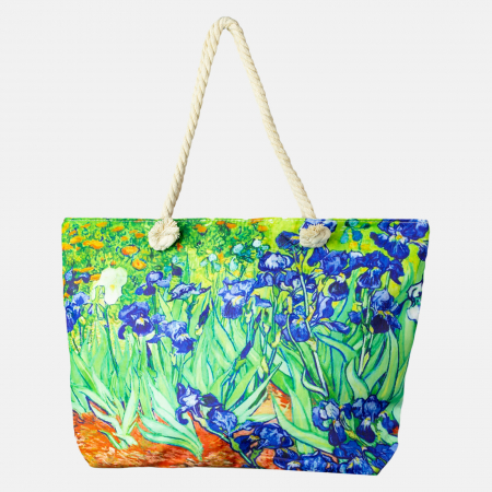"""Geanta de plaja din material textil, cu imprimeu o fata dupa tabloul """"Irisi"""" de Van Gogh [0]"""