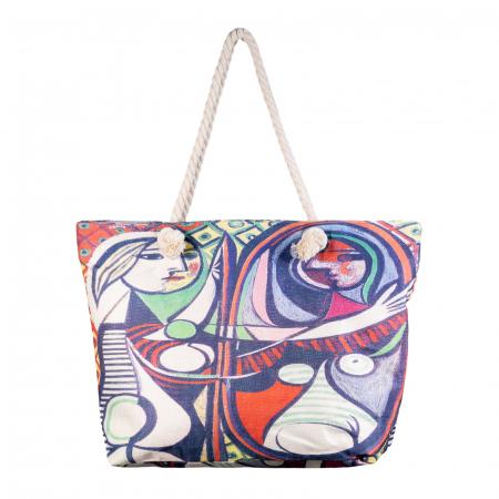"Geanta de plaja din material textil, cu imprimeu inspirat din pictura ""Girl Before a Mirror"" a lui Pablo Picasso [0]"