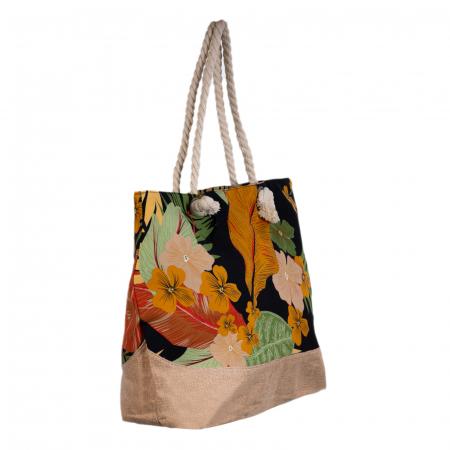 Geanta de plaja din material textil, cu imprimeu tropical pe fond negru [3]