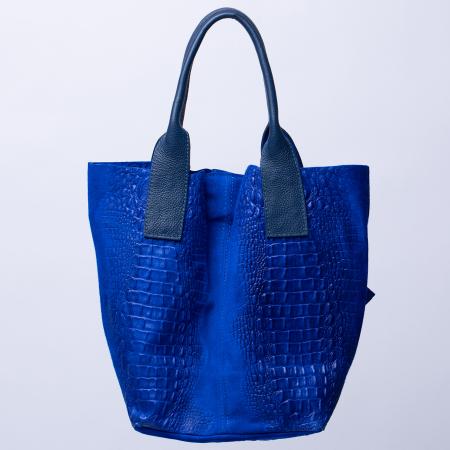Geanta shopper din piele intoarsa naturala, albastru electric [1]